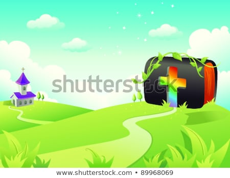 Bible on rolling landscape with church and Cross Stock photo © zzve