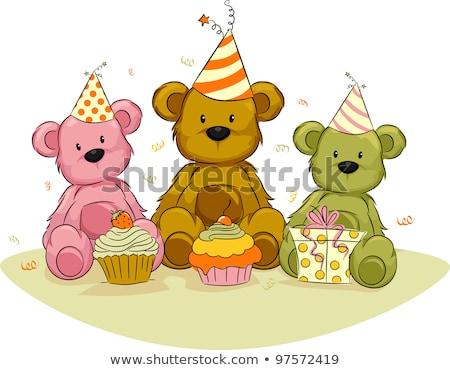 speelgoed · beer · verjaardag · hoed · geïsoleerd · witte - stockfoto © taden