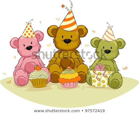 Stockfoto: Speelgoed · beer · verjaardag · hoed · geïsoleerd · witte