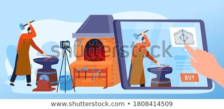 Kovács munka égő piros darab vasaló Stock fotó © SecretSilent