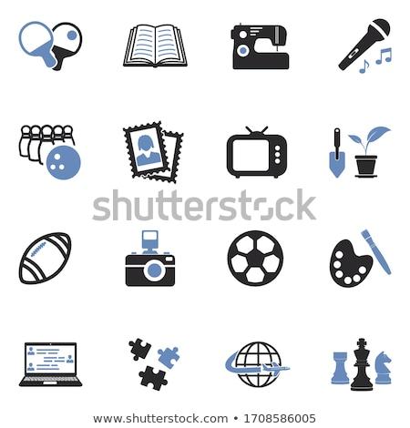 tv set icon on blue puzzle stock photo © tashatuvango