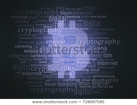 bitcoin logo word cloud with blue wordings Stock photo © seiksoon