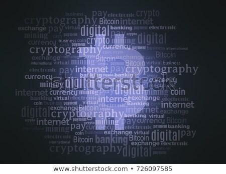 Bitcoin logo woordwolk Blauw geld internet Stockfoto © seiksoon