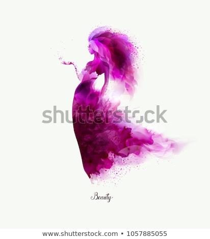 Beauté femme violette robe fleur résumé Photo stock © arturkurjan