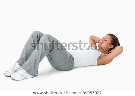 sedersi · donna · bella · sorridere · faccia · fitness - foto d'archivio © juniart