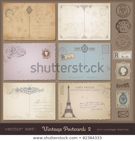 Kettő klasszikus kártyák díszes keretek kopott Stock fotó © 3mc