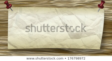 Wrinkled Paper with push pins to wooden wall Stock photo © ankarb
