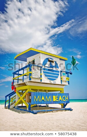 Summer scene with a typical colorful lifeguard house in Miami Be Stock photo © meinzahn
