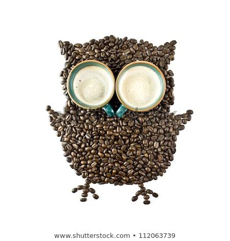 xícaras · de · café · grãos · de · café · como · coruja · café - foto stock © xura