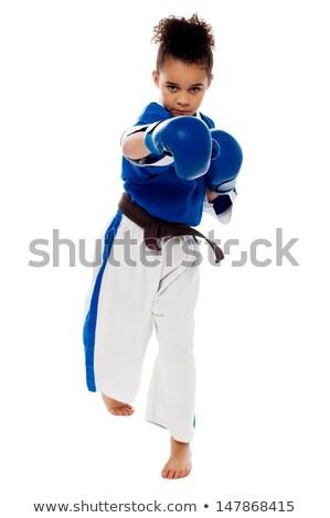 Stok fotoğraf: Karate · çocuk · hazır · küçük · kız · paketlemek · spor