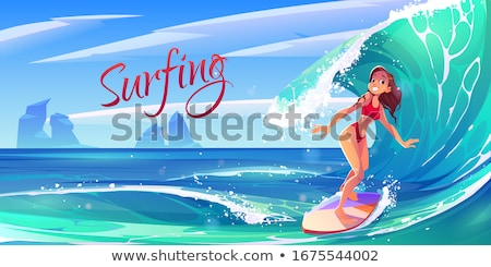 cartoon girl in a bikini surfing stock photo © antonbrand