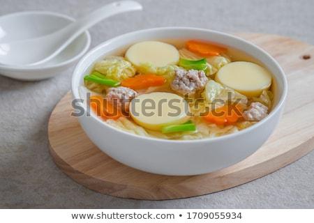 Delicioso sopa ovo tofu carne de porco vegetal Foto stock © punsayaporn