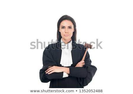 ストックフォト: 女性 · 裁判官 · 孤立した · 白 · 手 · 手