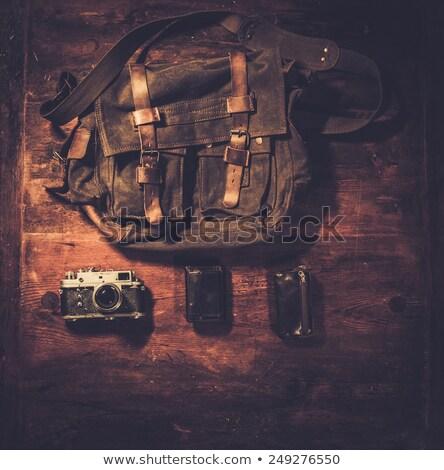 Régi fényképezőgép kézitáska fából készült divat táska fotó Stock fotó © Nejron