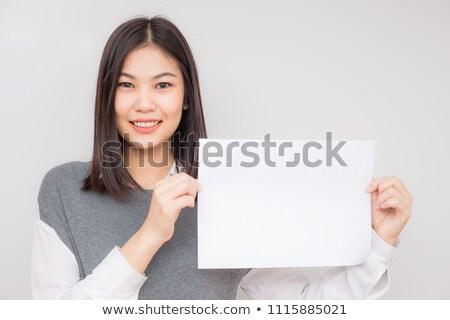 бизнеса азиатских женщину чистый лист бумаги визитной карточкой Сток-фото © tangducminh