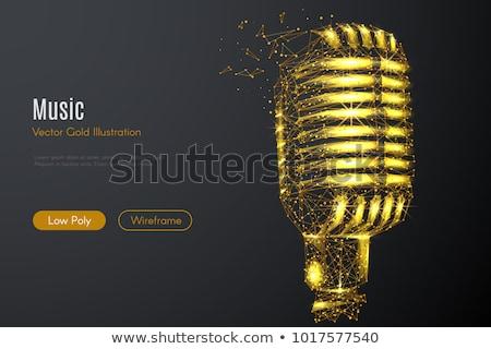 dourado · microfone · isolado · branco · música · projeto - foto stock © rizwanali3d
