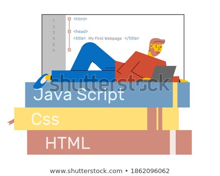 Website coding flat stylized illustration Stock photo © Anna_leni
