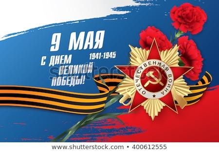 Carnation and St. George ribbon on white background Stock photo © Valeriy