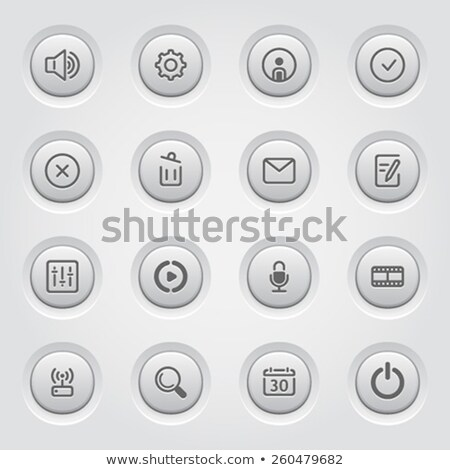 social media icons set of movie network equalizer and microphone stock photo © wad