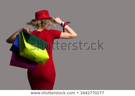 小さな · 女性 · モデル · ポーズ · 赤 · ミニ - ストックフォト © elnur