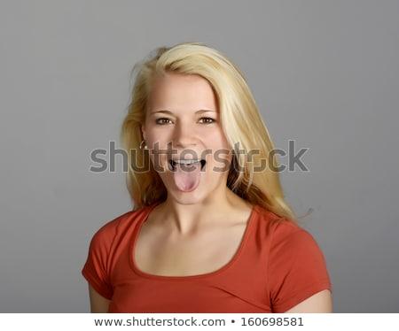 白 女性 面白い 舌 ストックフォト © wavebreak_media