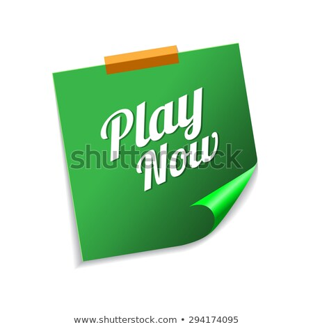 play now green sticky notes vector icon design stock photo © rizwanali3d