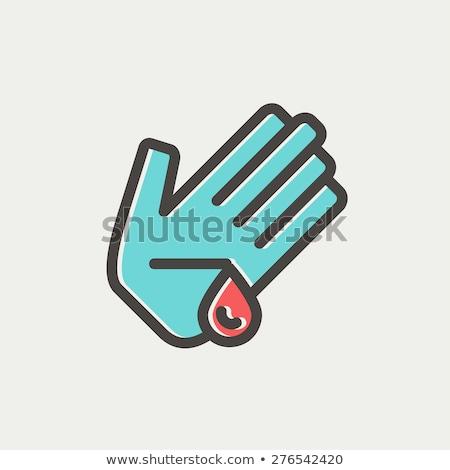 herido · palma · línea · icono · web · móviles - foto stock © rastudio