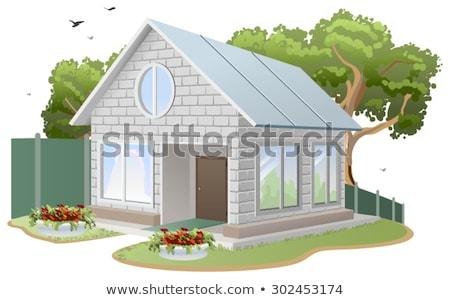 huis · hek · isometrische · familie · gebouw - stockfoto © orensila