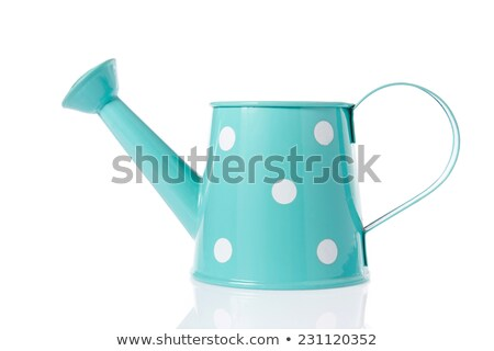 blue with white polka dot watering can isolated on white Stock photo © tetkoren