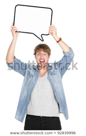 Sorprendido hombre vacío blanco cartel Foto stock © master1305