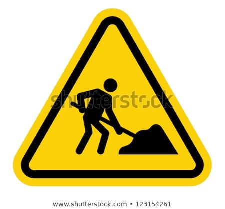 nierówny · podpisania · tradycyjny · drogowego · trójkąt · znak · drogowy - zdjęcia stock © bigalbaloo