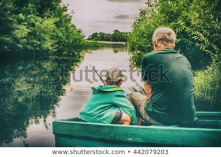 Stok fotoğraf: Erkek · balık · tutma · erkekler · plaj · balık · göl