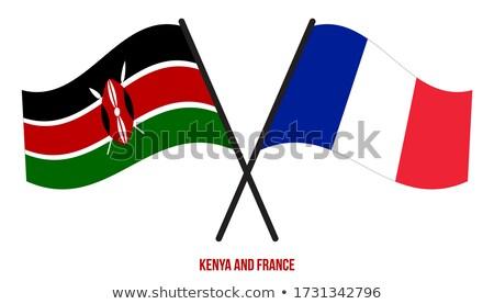 ストックフォト: フランス · ケニア · フラグ · パズル · 孤立した · 白