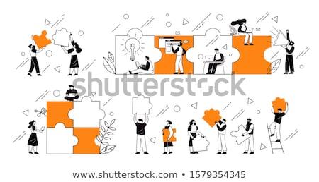Negócio trabalho em equipe quebra-cabeça relação sucesso metáfora Foto stock © Lightsource