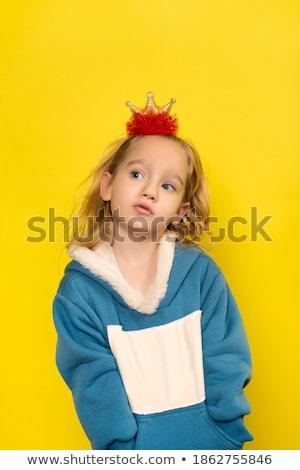 Güzel adil kız sarı elbise yalıtılmış Stok fotoğraf © Elnur