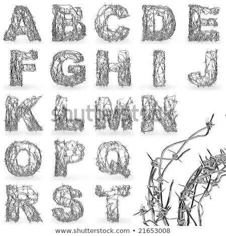 Alfabet litery typu drutu kolczastego odizolowany biały Zdjęcia stock © orensila