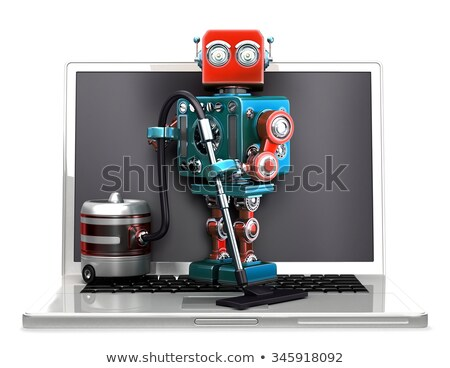 retro robot with laptop and vacuum cleaner isolated contains clipping path stock photo © kirill_m