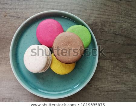 Biscuits keramische kommen houten bureau dienblad Stockfoto © CaptureLight