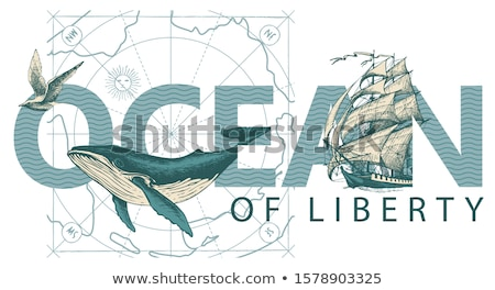 Underwater card and old ship, vector illustration Stock photo © carodi