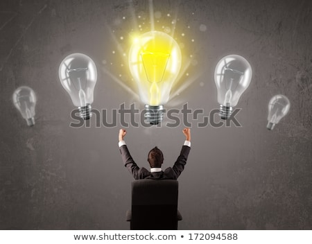 uniek · gloeilamp · heldere · licht · grijs · papier - stockfoto © ra2studio