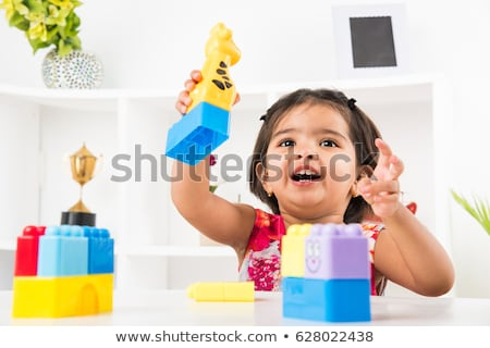 Children playing and learning in isolated background Stock photo © zurijeta