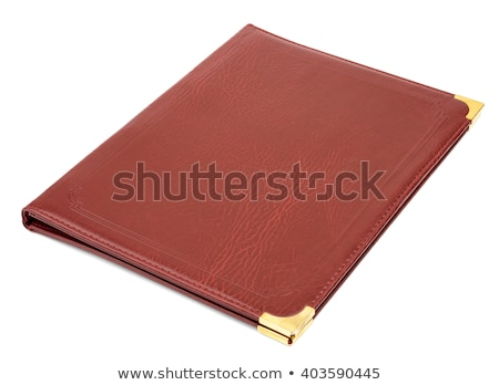 rosolare · pelle · cartella · isolato · bianco · notebook - foto d'archivio © cherezoff