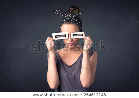 Pretty girl with censored paper sign Stock photo © ra2studio