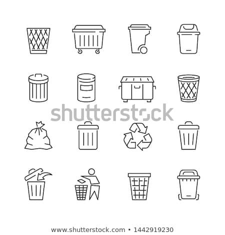 мусорное ведро линия икона уголки веб мобильных Сток-фото © RAStudio