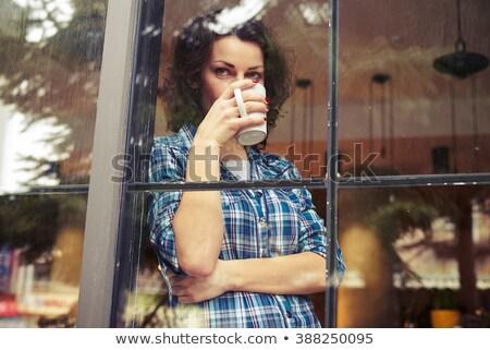 красивой · задумчивый · женщину · питьевой · кофе · окна - Сток-фото © deandrobot