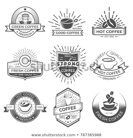 Set of coffee shop logos. Coffee labels with sample text. Mugs, beans and coffee equipment icons for Stock photo © khabarushka