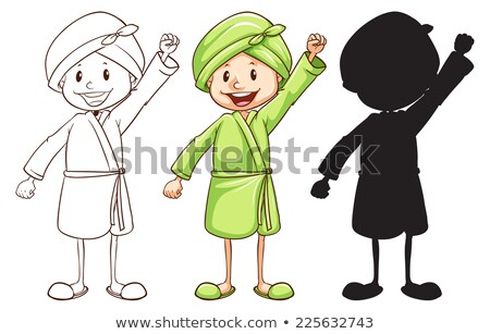 a sketch of a girl after taking a bath in three colours stock photo © bluering