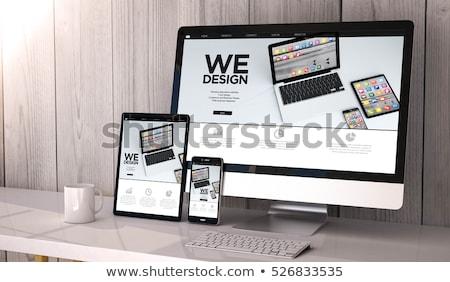 Teléfono móvil ordenador dispositivo vector arte gráfico Foto stock © vector1st