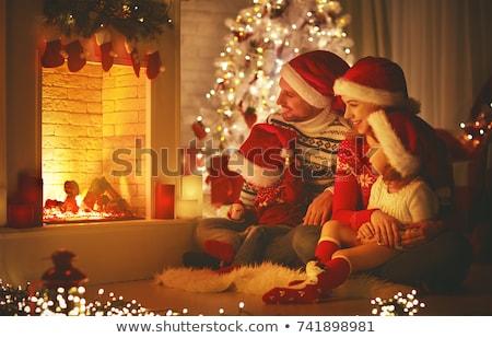 Gyerekek kandalló karácsony illusztráció tűz otthon Stock fotó © adrenalina