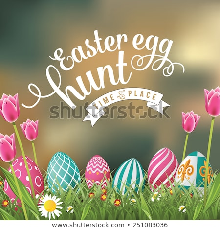 easter eggs with card eps 10 stock photo © beholdereye
